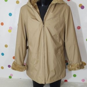 White Stag Tan Hood Winter Coat